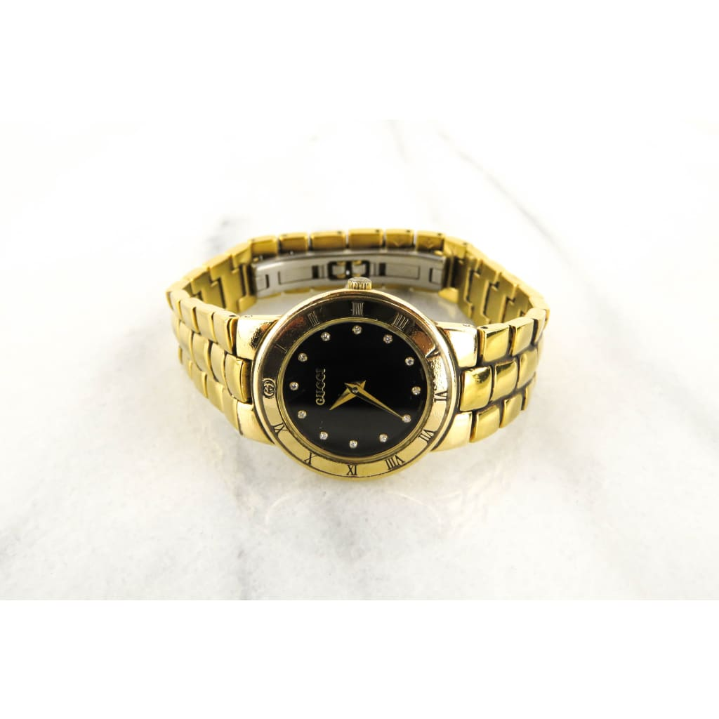 Gucci 18k Gold Plated Vintage Diamond Hour Marker Watch - Watches