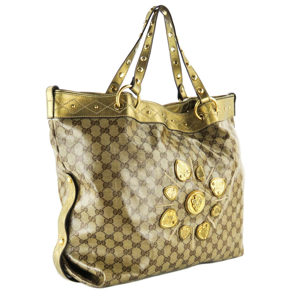 Gucci Beige and Gold Coated Canvas Irina Babouska Tote Bag - Totes