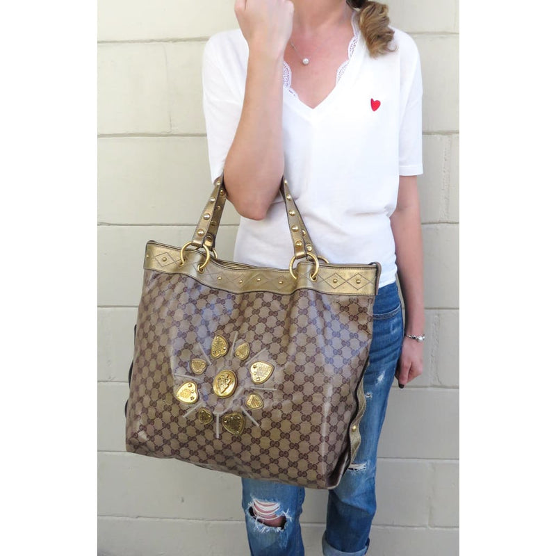 Gucci Beige and Gold GG Coated Canvas Irina Babouska Tote Bag - Totes