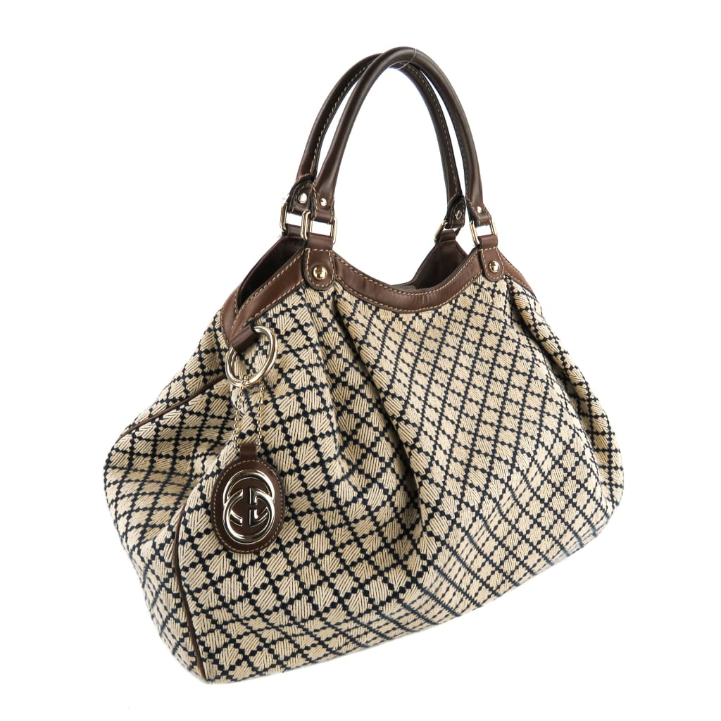 Gucci Beige and Navy Blue Canvas Diamante Sukey Large Tote Bag - Totes