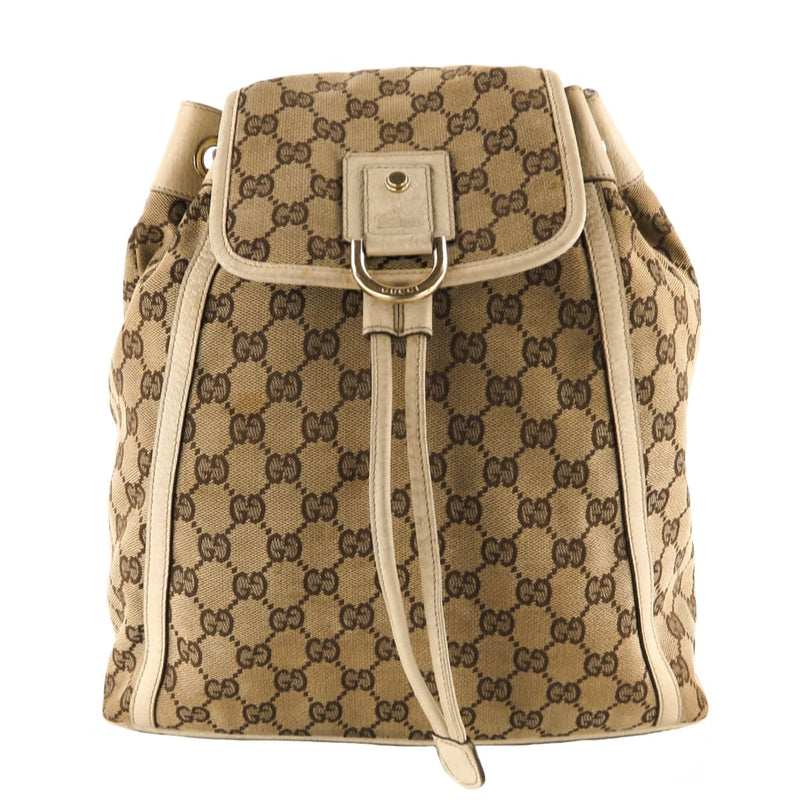 Gucci Beige GG Canvas Abbey Backpack - Backpacks