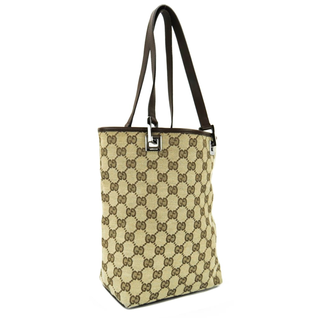 Gucci Beige GG Canvas Bucket Tote Bag - Totes