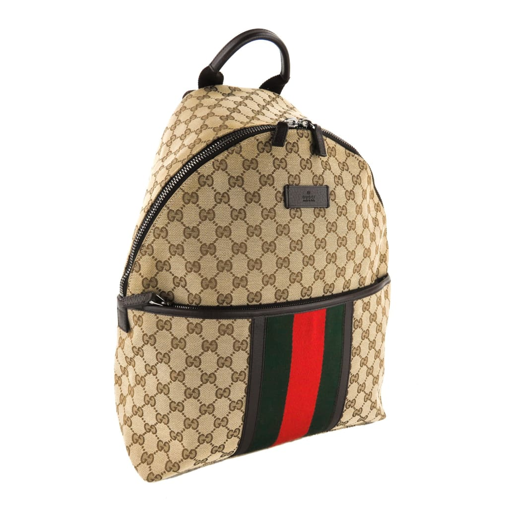 Gucci Beige GG Canvas Medium Web Backpack - Backpacks