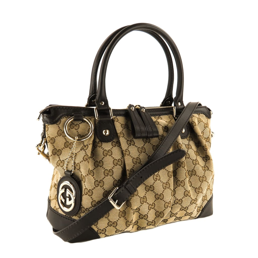 Gucci Beige GG Canvas Sukey Two Way Satchel Bag - Satchels