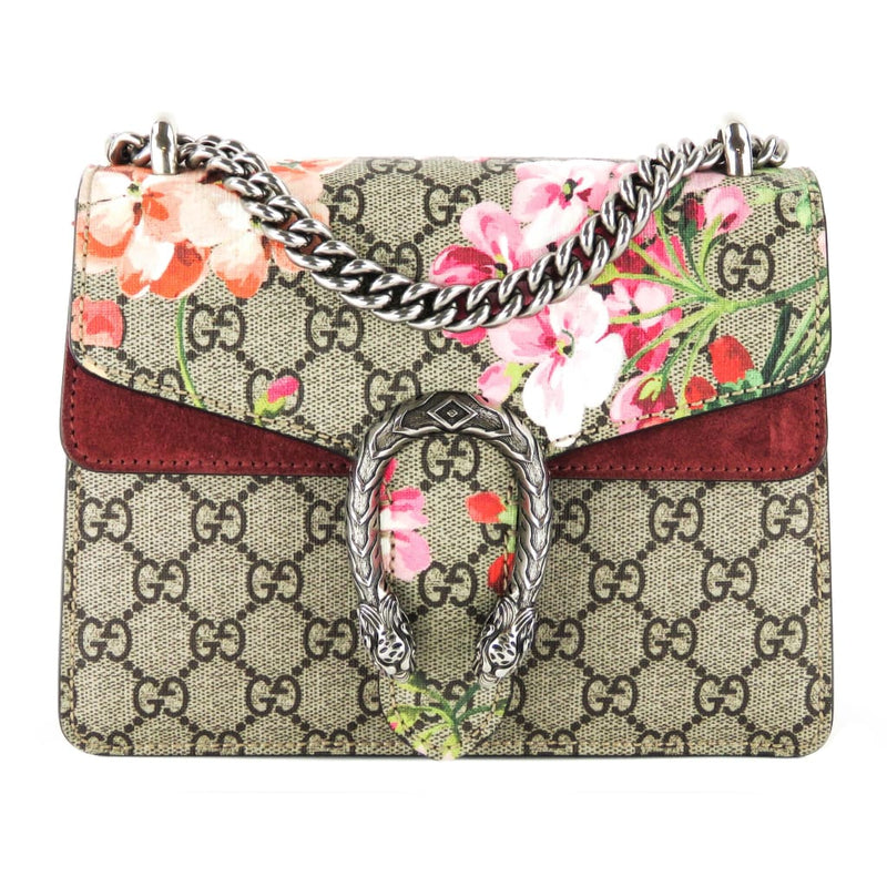 Gucci Beige GG Coated Canvas Blooms Print Dionysus Mini Crossbody Bag - Crossbodies