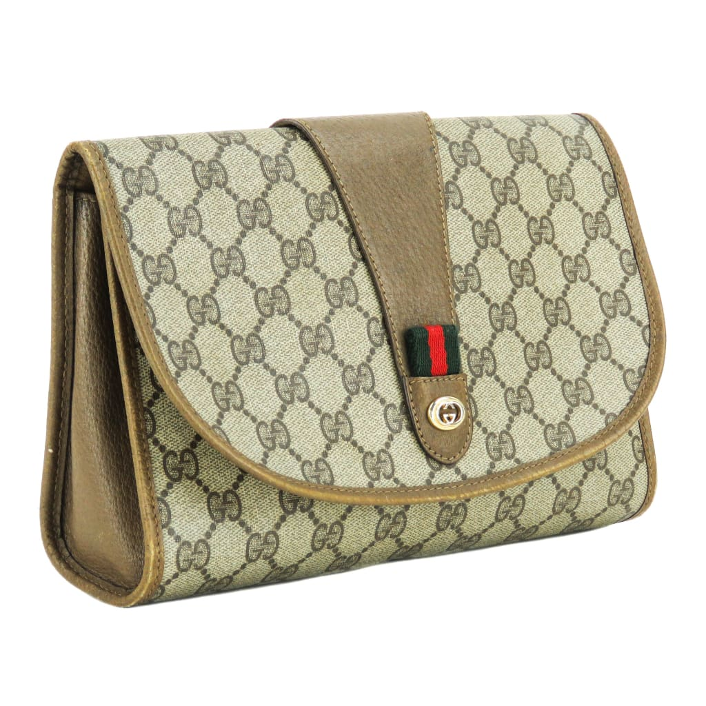 Gucci Beige GG Coated Canvas Web Clutch Bag - Clutches