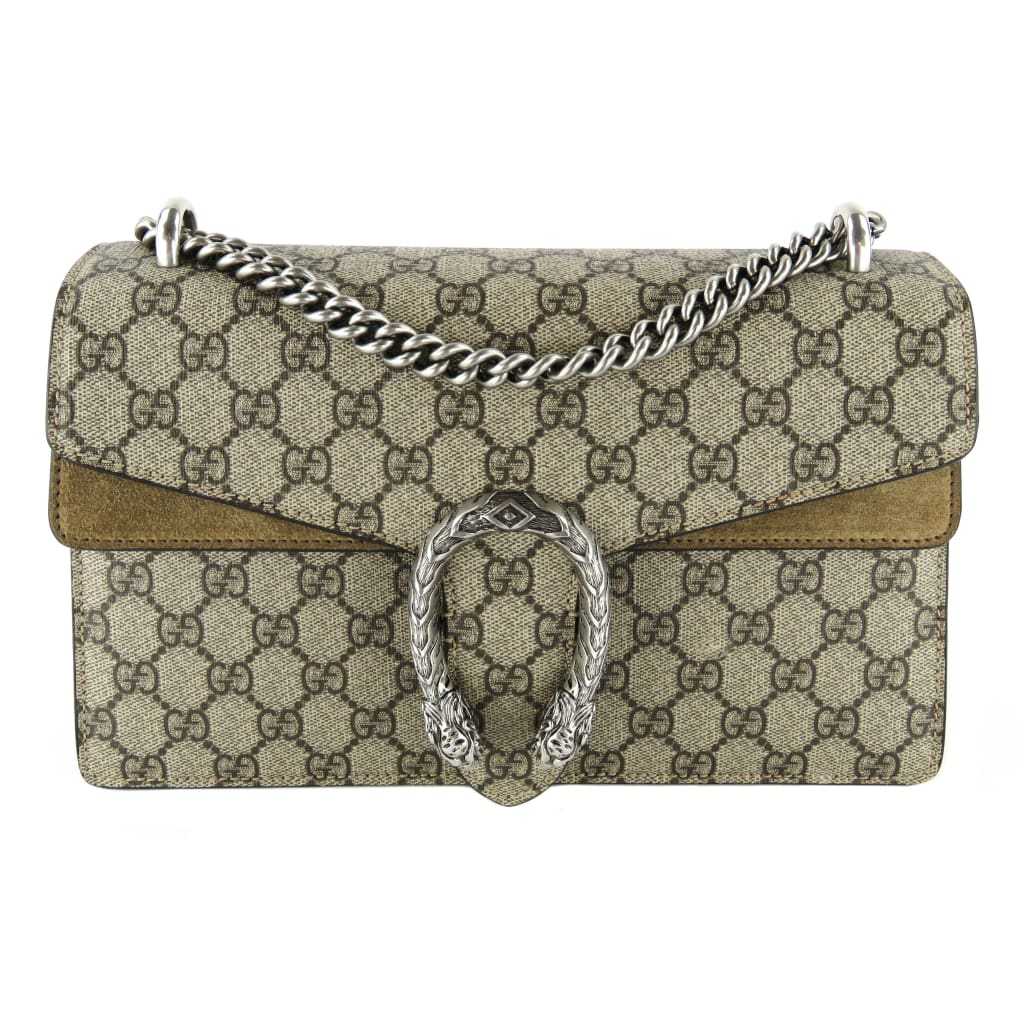 Gucci Beige GG Supreme Canvas Dionysus Small Shoulder Bag - Crossbodies