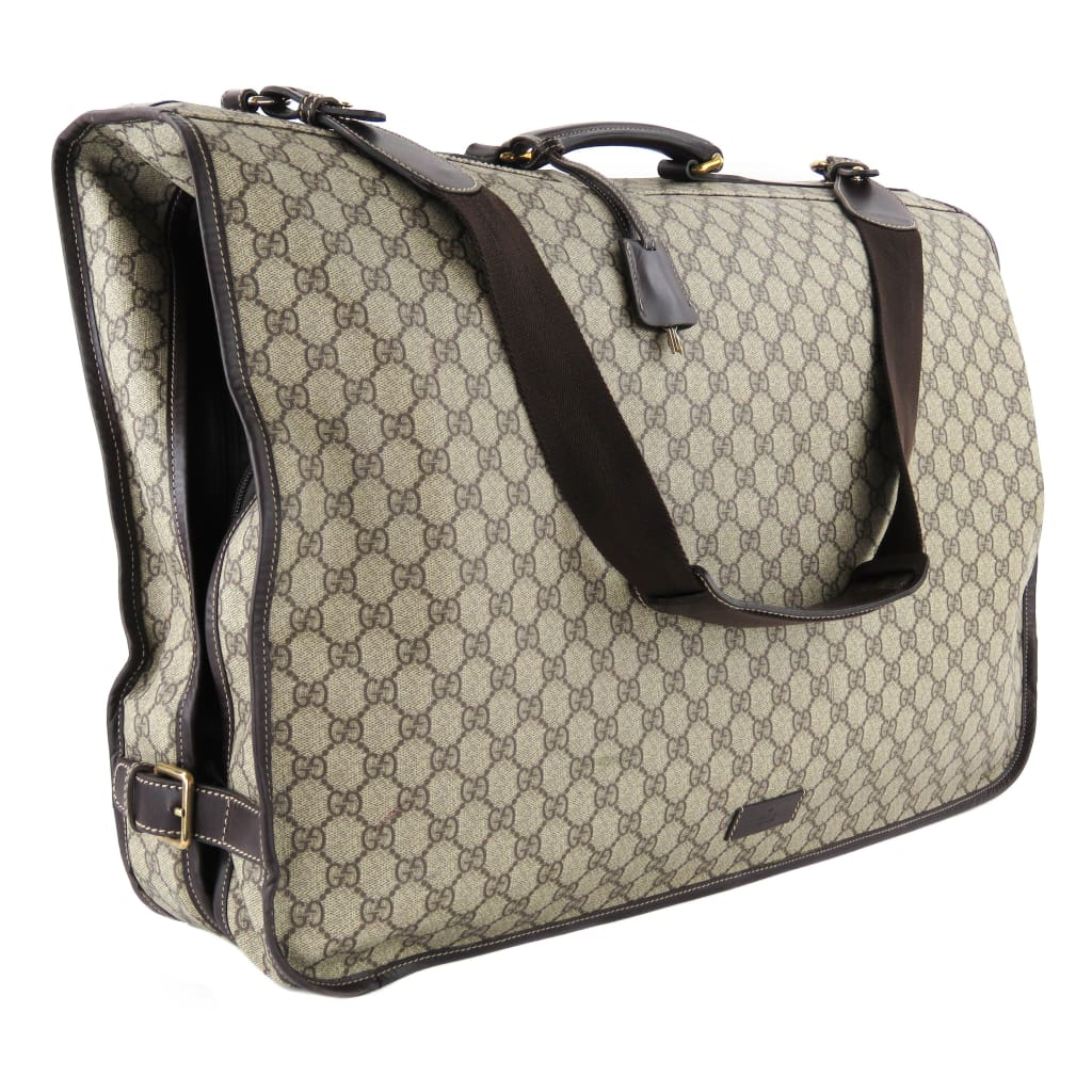 Gucci Beige GG Supreme Canvas Garment Luggage Bag - Luggage
