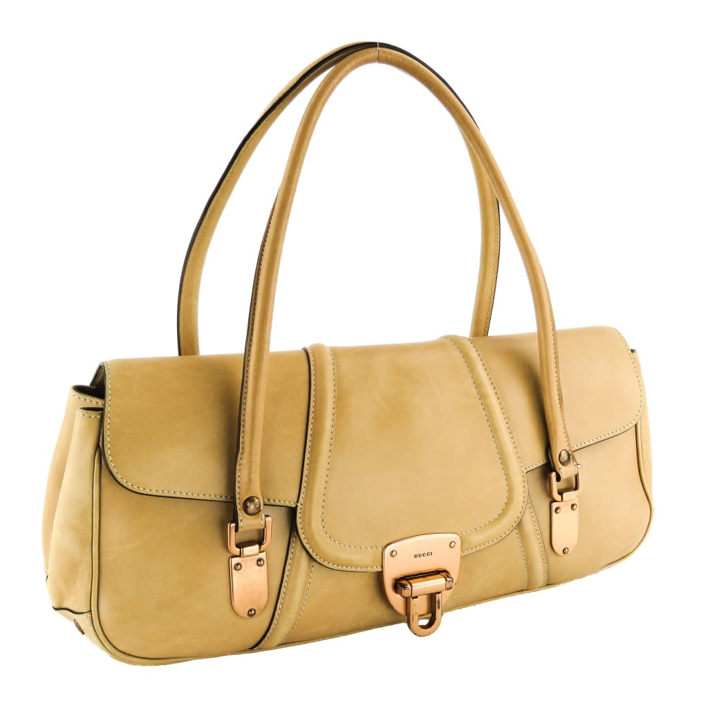 Gucci Beige Leather Foldover Satchel Bag - Satchels