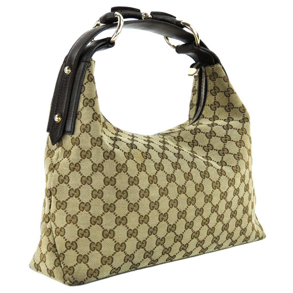 Gucci Beige Monogram GG Canvas Medium Horsebit Hobo Shoulder Bag - Shoulder Bags