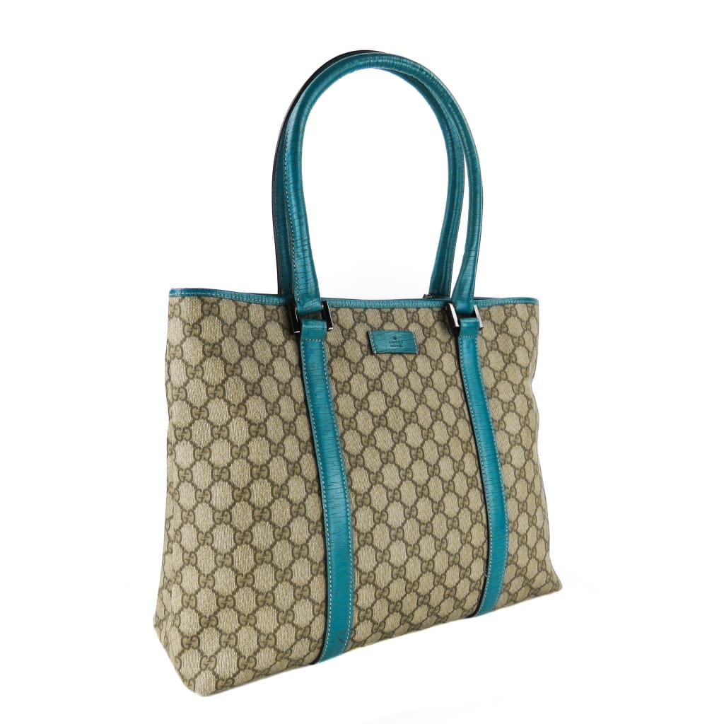 Gucci Beige Monogram GG Canvas Turquoise Joy Tote Bag - Totes