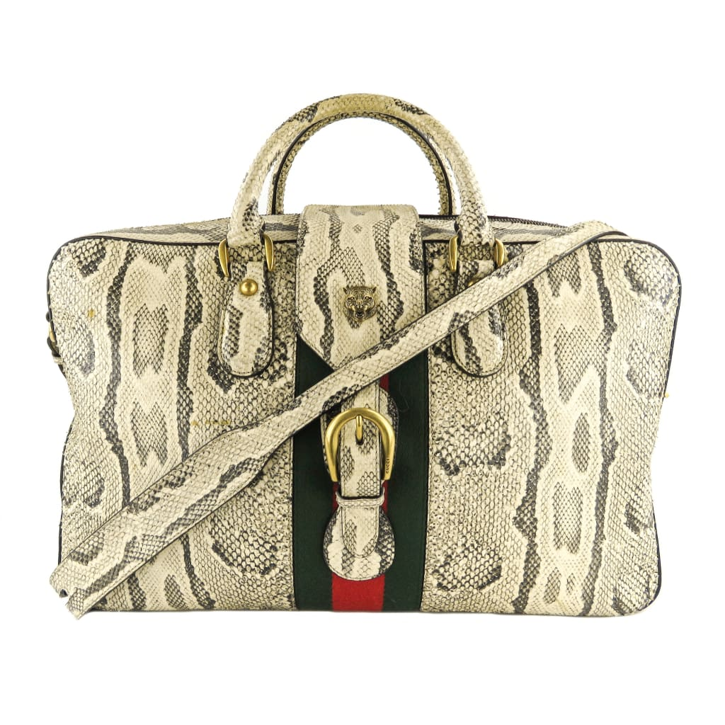 Gucci Beige Python Web Animalier Duffle Luggage Bag - Luggage