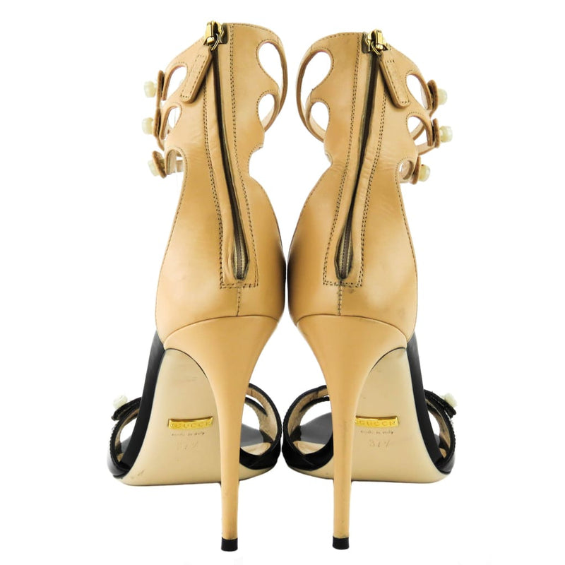 Gucci Black and Nude Leather Mother Of Pearl Button Ankle Strap Heels - Heels
