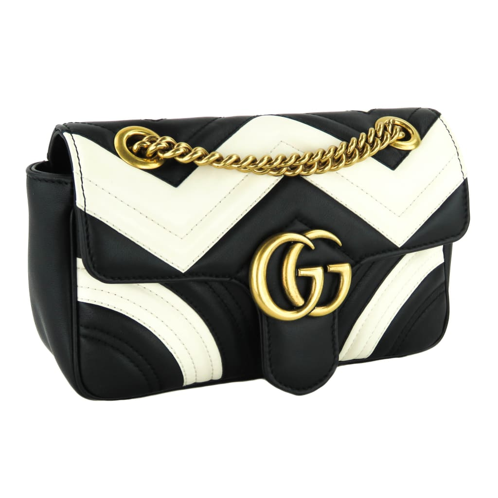 Gucci Black and White Calfskin Leather Matelasse Mini GG Marmont Shoulder Bag - Shoulder Bags