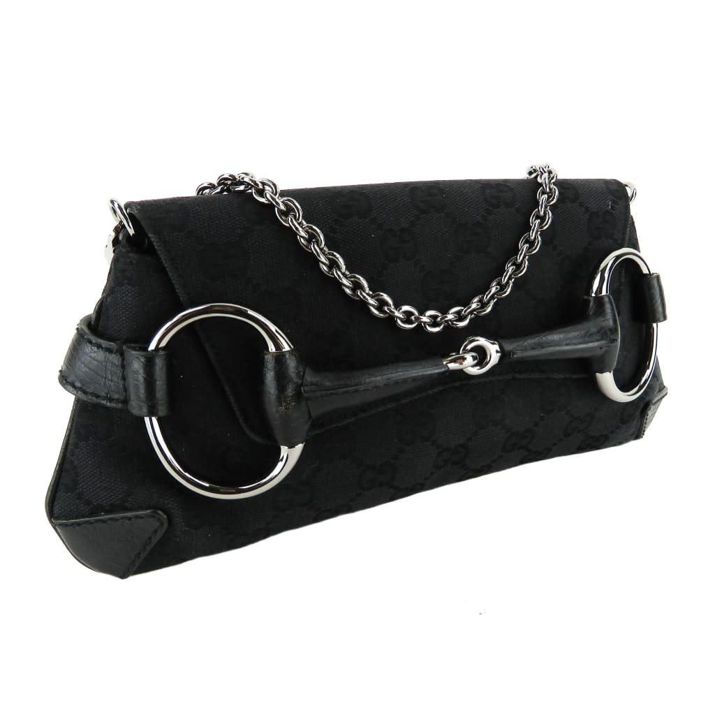 Gucci Black GG Canvas Horsebit Clutch Shoulder Bag - Clutches