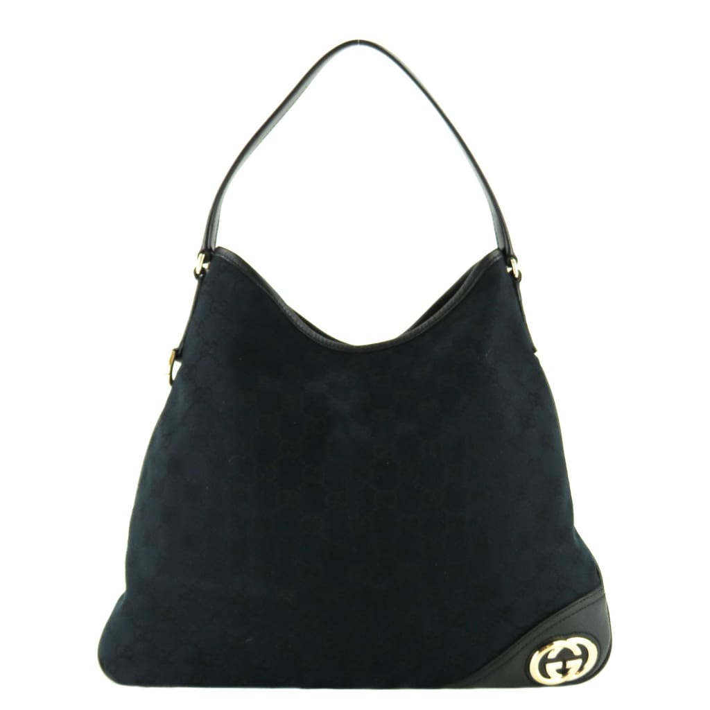 Gucci Black GG Canvas New Britt Medium Hobo Bag - Hobo Bags