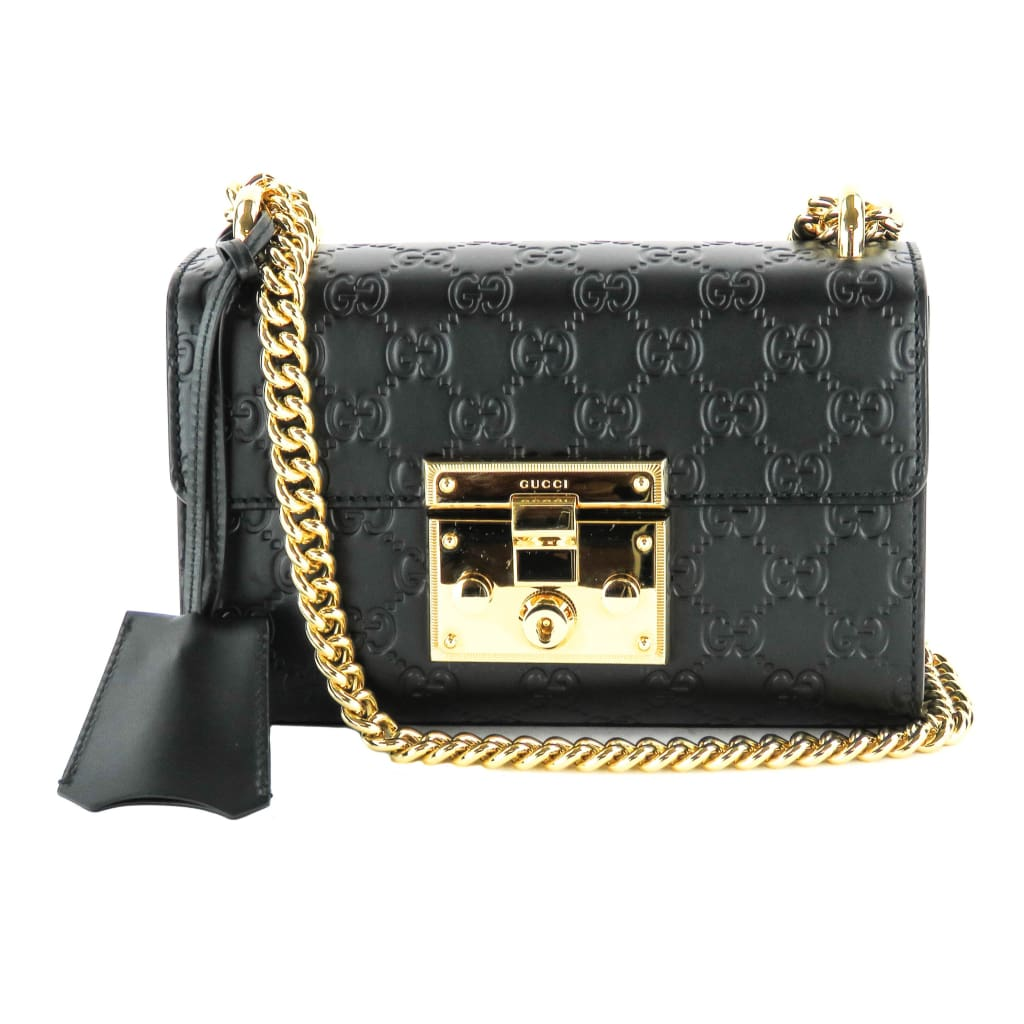 Gucci Black Guccissima Leather Small Padlock Shoulder Bag - Shoulder Bags