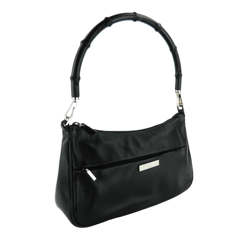Gucci Black Leather Bamboo Pochette Shoulder Bag - Shoulder Bags