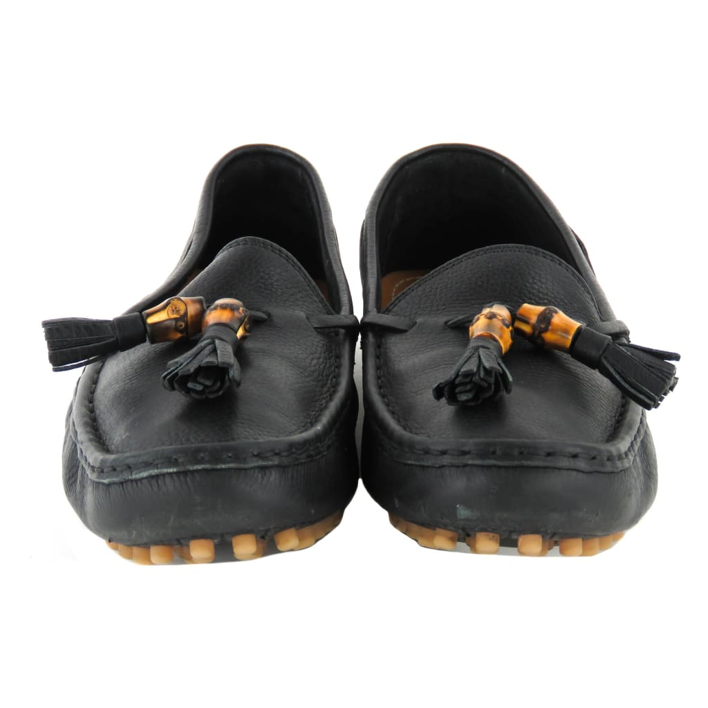 Gucci Black Leather Bamboo Tassel Driving Loafers - Loafers