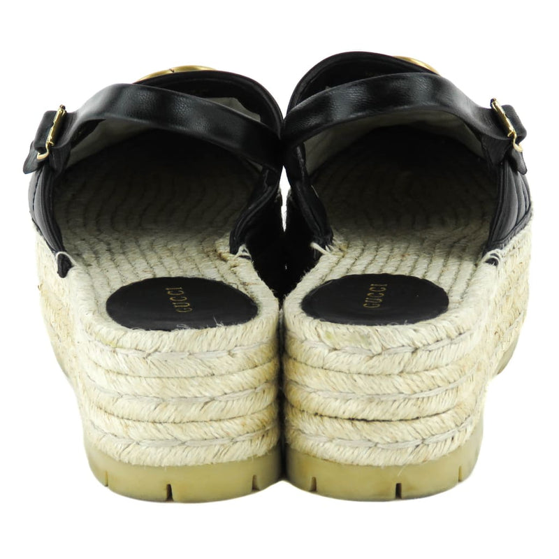 Gucci Black Leather Double G Chevron Platform Pilar Espadrilles - Espadrilles