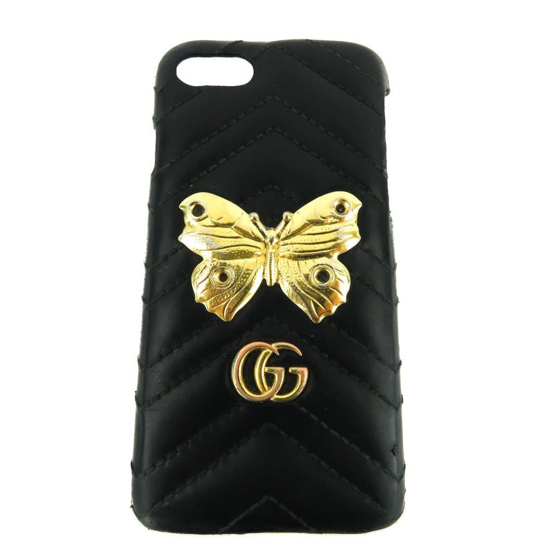 Gucci Black Leather GG Marmont Moth Stud iPhone 7 Case - Phone Case