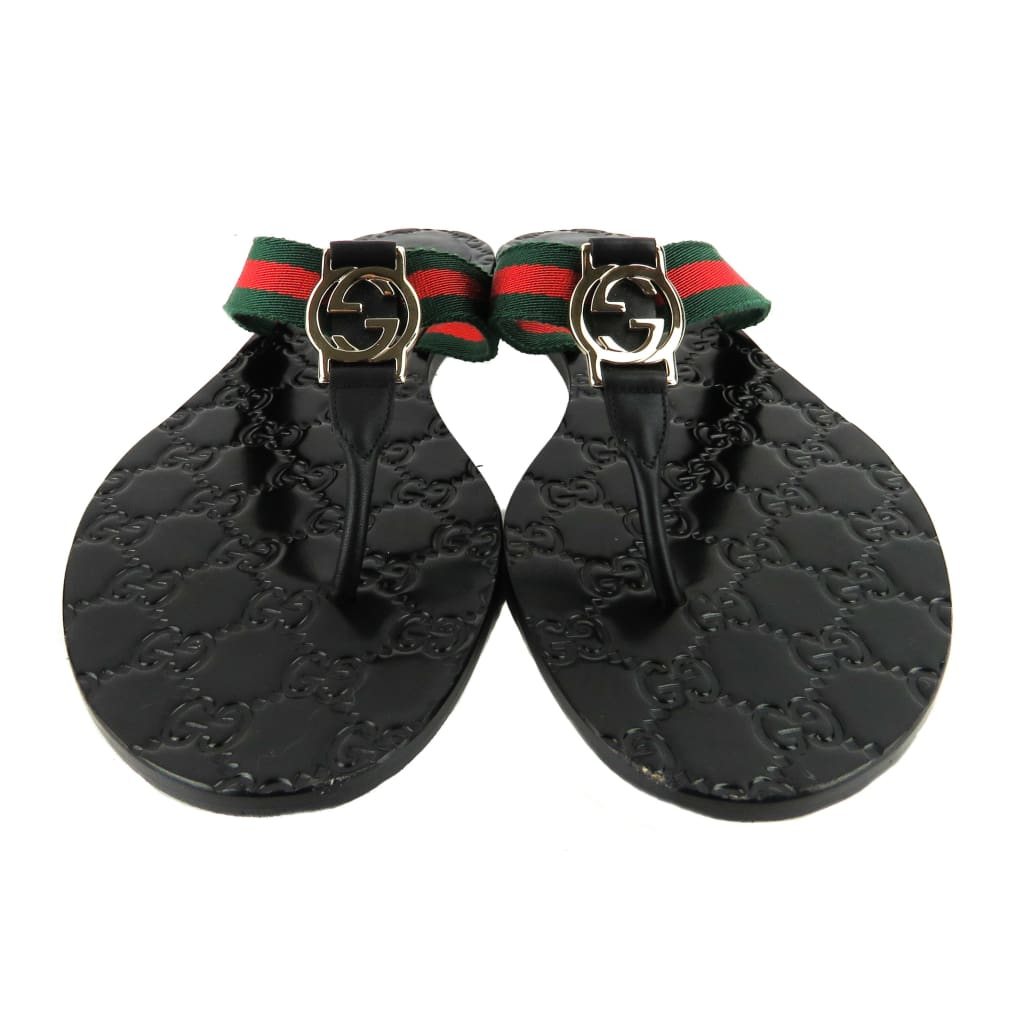 Gucci Black Leather GG Web Logo Thong Sandals - Sandals