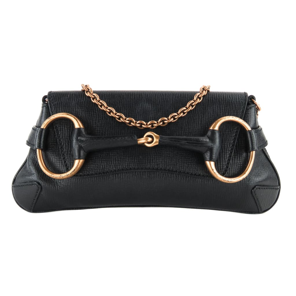 Gucci Black Leather Horsebit Chain Clutch Shoulder Bag - handbags