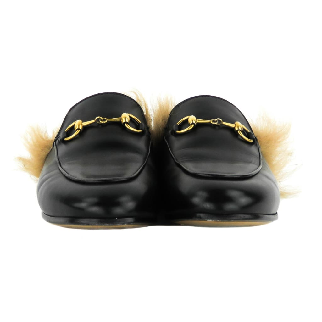 Gucci Black Leather Horsebit Lamb Wool Princetown Loafer Flats - Loafers