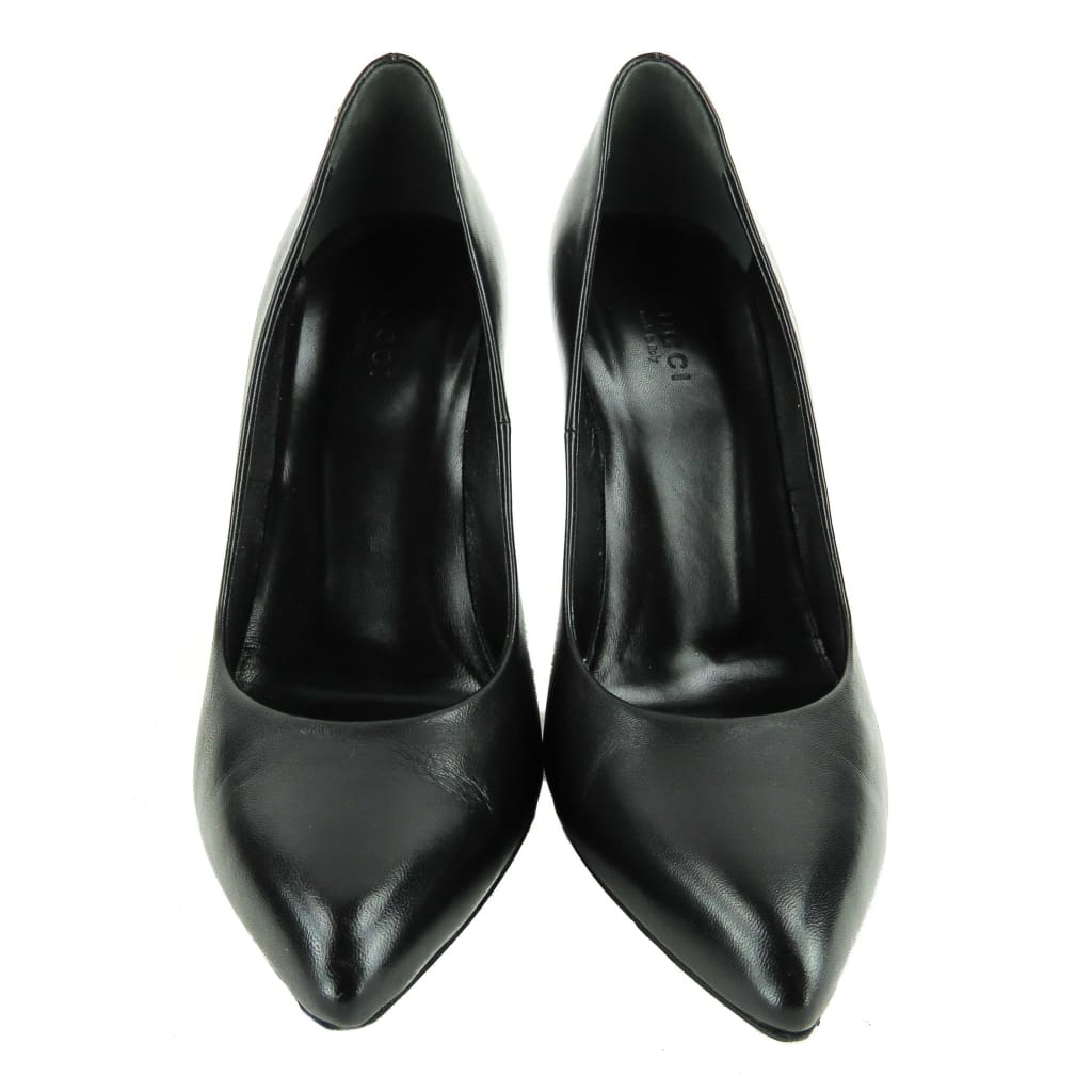 Gucci Black Leather Pointed Toe Pumps - Heels