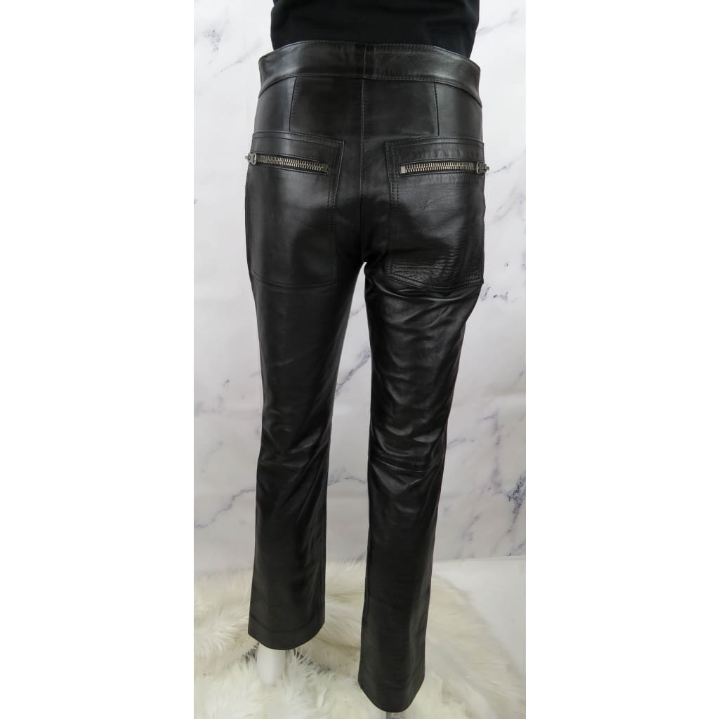 Gucci Black Leather Size 38 Front Zipper Pants - Pants