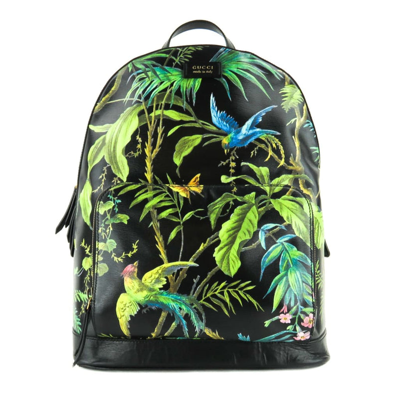 Gucci Black Leather Tropical Print Zip Pocket Backpack - Backpacks