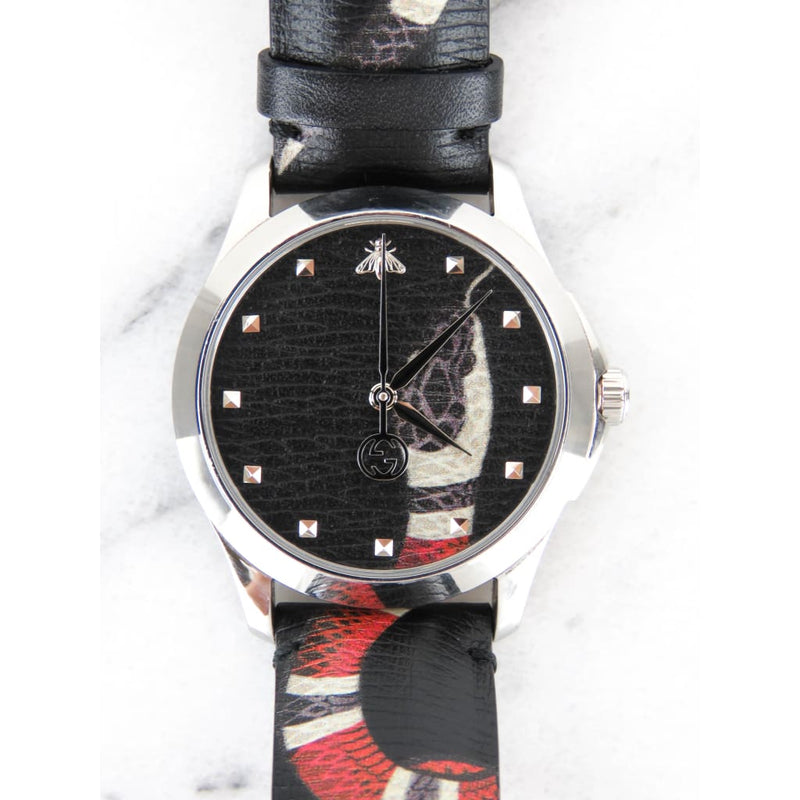 Gucci Black Leather Unisex Swiss Le Marche Des Merveilles Watch - Watches