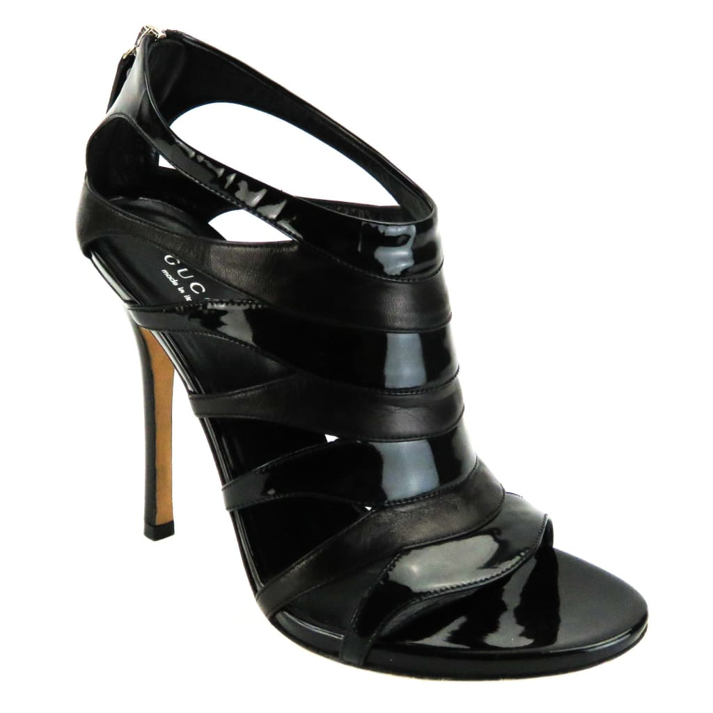Gucci Black Patent Leather Cut Out Sandal Heels - Heels