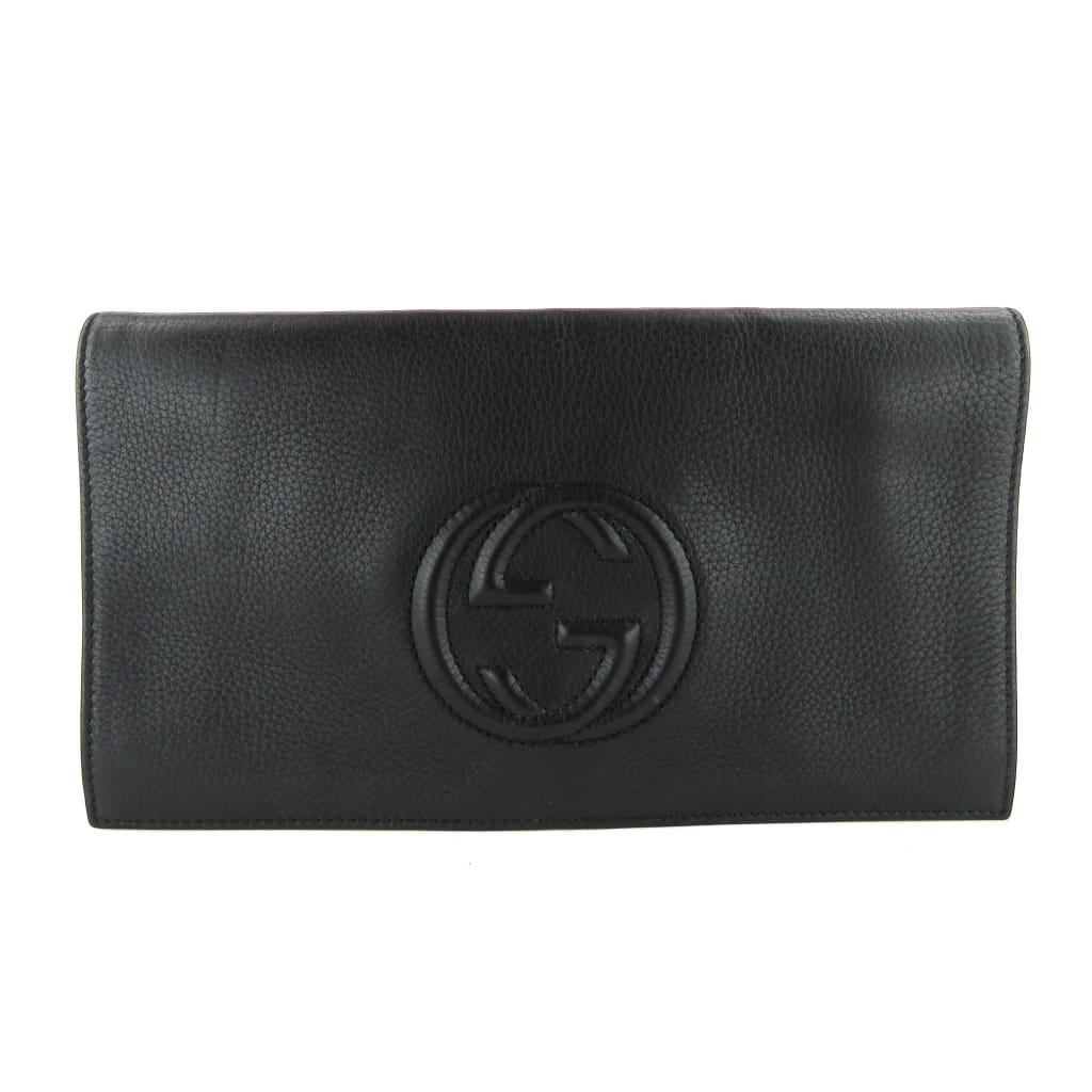 Gucci Black Pebbled Leather Medium Soho Clutch Bag - Clutches