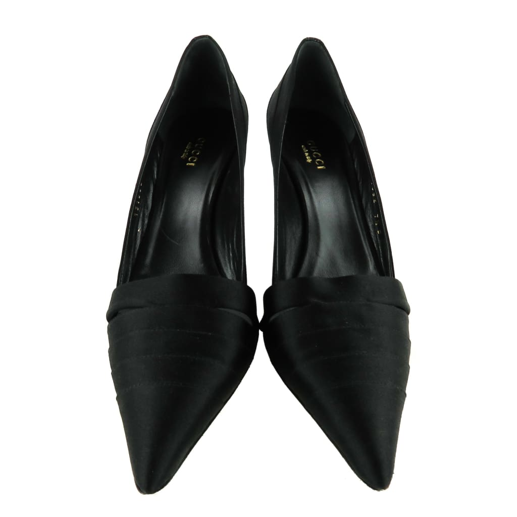 Gucci Black Satin Pointed Toe Pumps - Heels