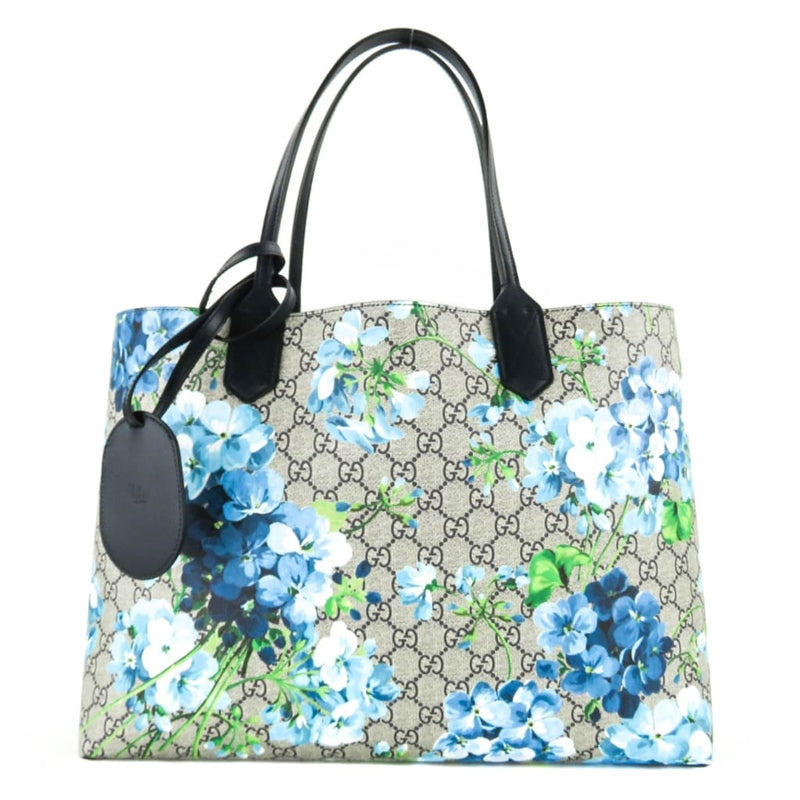 Gucci Blue Supreme GG Canvas Blooms Medium Reversible Tote Bag - Totes