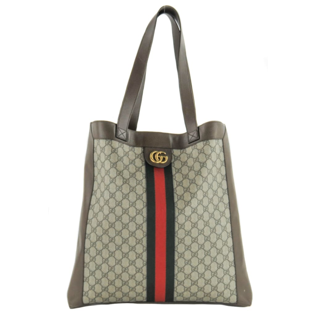 Gucci Brown GG Supreme Monogram Canvas Ophidia Web Tote Bag - Totes