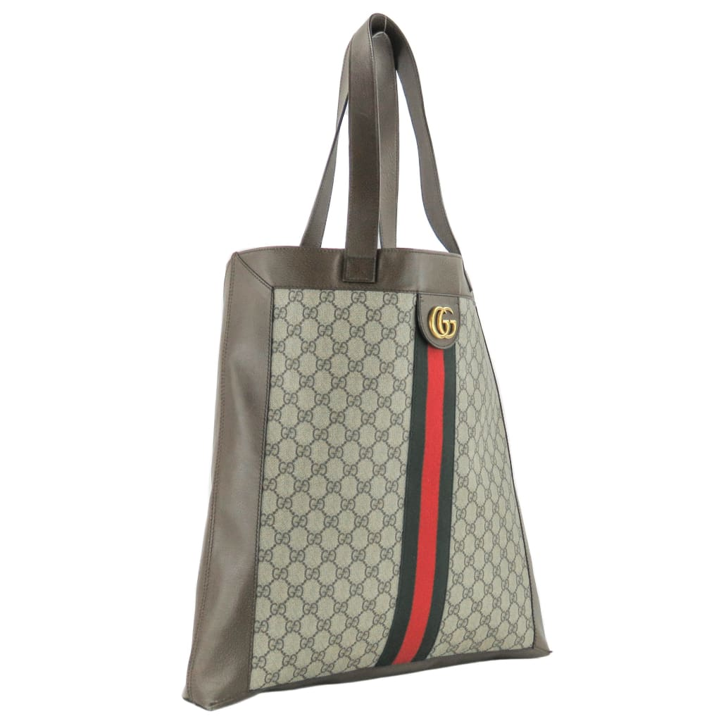 ffc67e9a2df Gucci Brown GG Supreme Monogram Canvas Ophidia Web Tote Bag - Totes