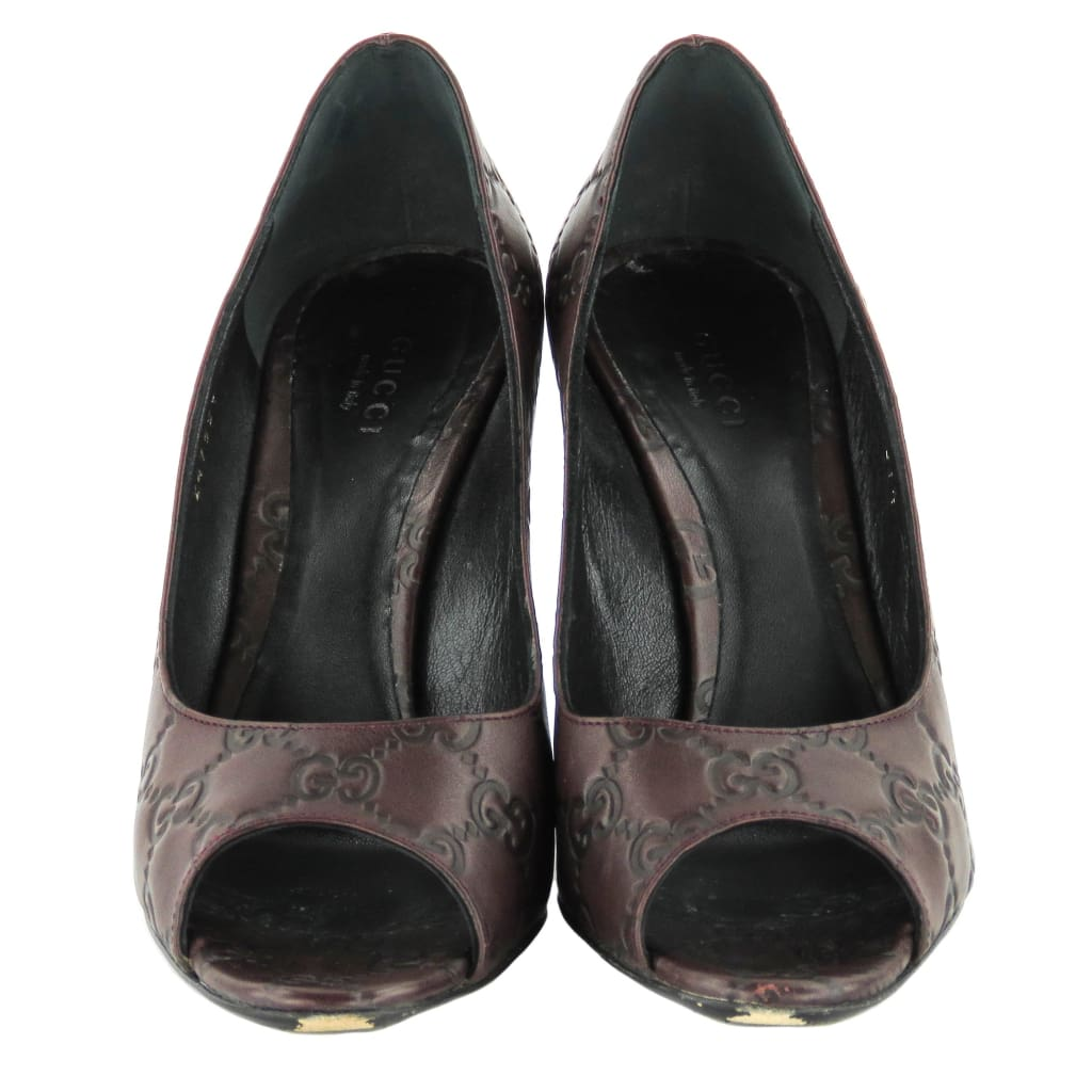 0a4245c1a Gucci Brown Guccissima Leather Bordeux GG Peep Toe Pumps - Heels