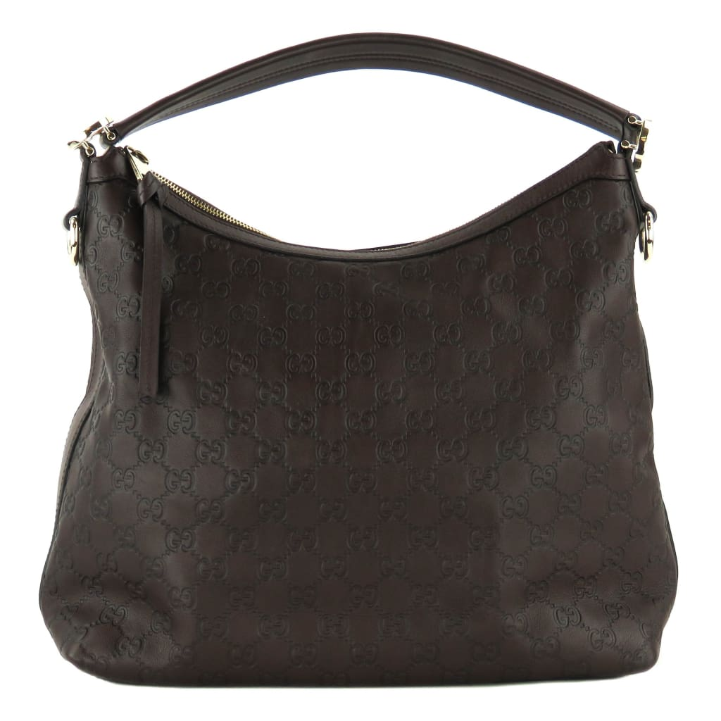 Gucci Brown Guccissima Leather Miss GG Hobo Bag - Hobo Bags