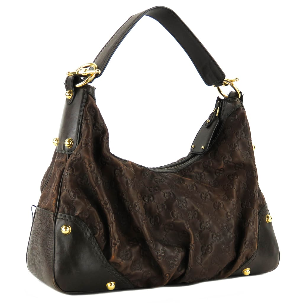 Gucci Brown Guccissma Leather Medium Jockey Hobo Bag - Hobo Bags
