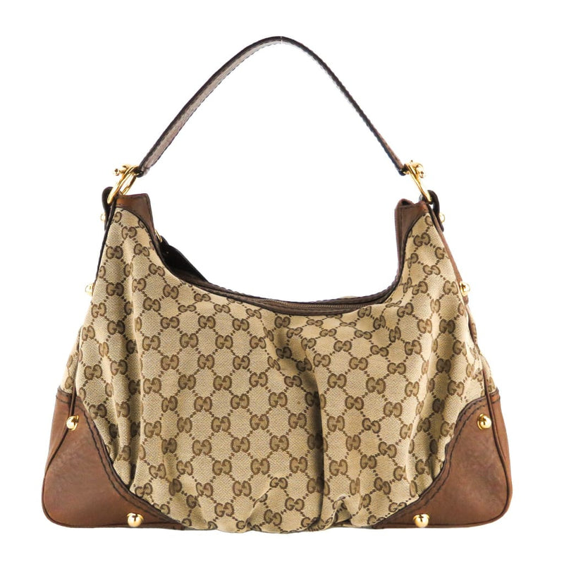 Gucci Brown Monogram Canvas Medium Jockey Hobo Shoulder Bag - Shoulder Bags