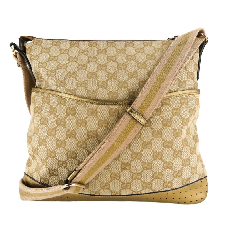 Gucci Gold and Beige GG Canvas Perforated Messenger Crossbody Bag - Crossbodies