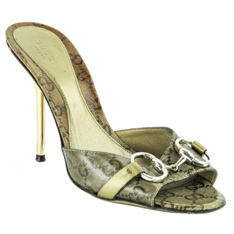 Gucci Gold Crystal Coated Canvas GG Horsebit Slide Mule Heels - Heels
