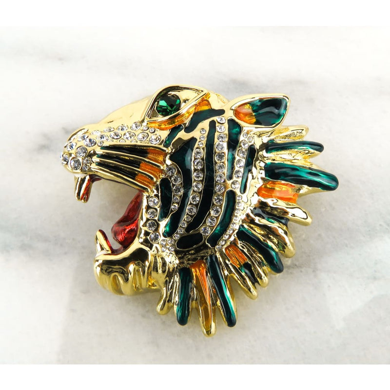 Gucci Gold-tone Metal Rajah Multicolor Enamel Crystal Tiger Brooch - Brooch