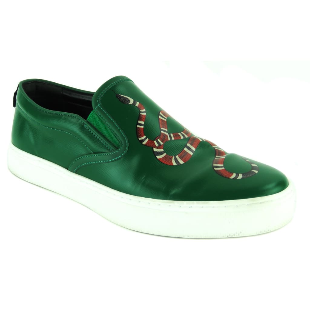 Gucci Green Leather Dublin Snake Print Slip On Sneakers - Sneakers