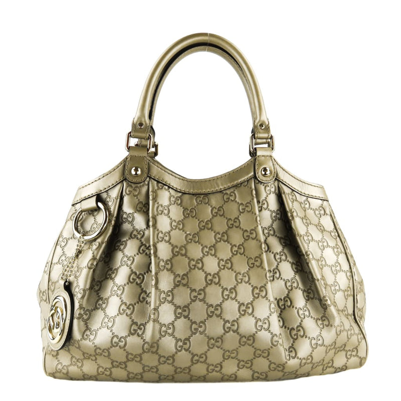 Gucci Hobo Gold Metallic Guccissina Leather Sukey Medium Tote Bag - Hobo Bags