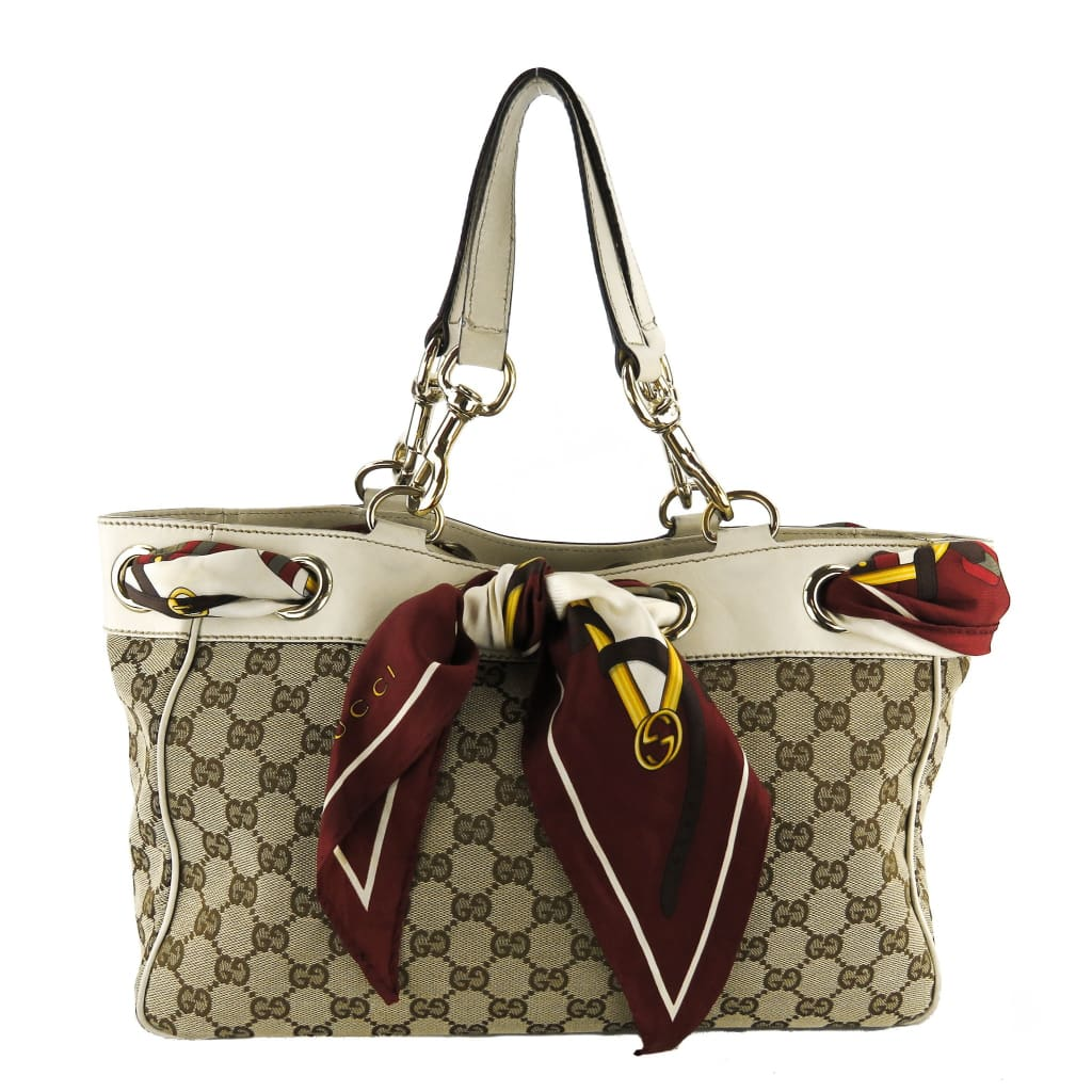 Gucci Ivory and Beige CC Canvas Positano Tote Bag - Totes