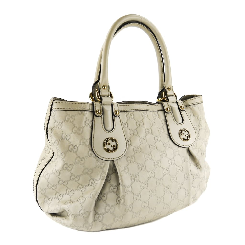 Gucci Ivory Guccissima Leather Scarlett Stud Tote Bag - Totes