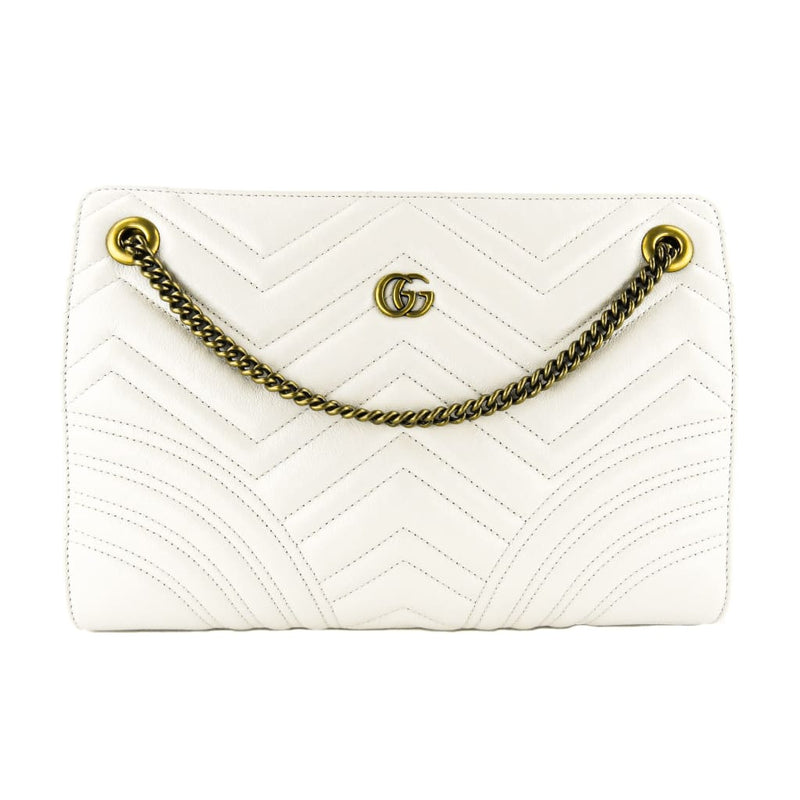 Gucci Ivory Leather Marmont Matelasse Medium Shoulder Bag - Crossbodies